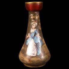 19c French Foil Enamel Copper Limoges Woman Hand Painted Lady Portrait Hand Fan Vase