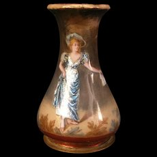 19c DRESS Bronze French Foil Enamel Copper Girl Portrait Limoges Vase w/Hat Hanky