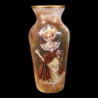19c Guilloche French Enamel Woman Lady H-PAINTED Portrait Vase Bronze Limoges