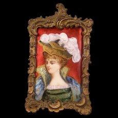 19c French Foil Enamel Copper Limoges Woman H-Painted Lady Portrait Bronze Frame