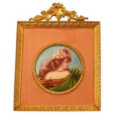 19c Art Nouveau Bronze Gilt Frame Guilloche Foil Enamel Lady Painting Portrait