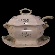 Early 1800s 19 C Pearl Cream Ware Pottery 4 Pc Tureen Staffordshire Covered Dish