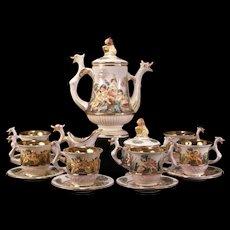 Vintage DRAGON EB R. Capodimonte Italian Porcelain Figural Gold Cherub Tea Set