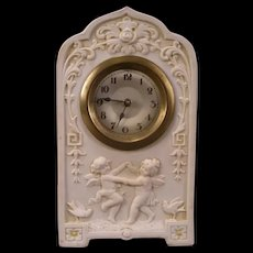 19c Schafer & Vater Jasperware Porcelain Kewpie Cupid Figure Mantle Shelf Clock