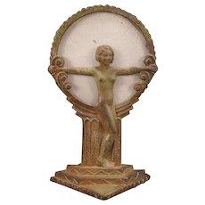 1920's Art Deco Geometric Nude Girl Figure Cast Iron Lamp Boudoir Slag Glass ORIGINAL