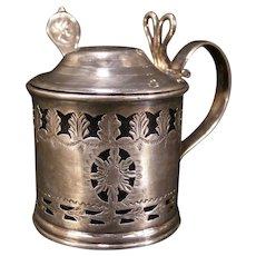 Antique 19 c Silver Cobalt Glass Mustard Honey Pot Condiment Jam Jar Medallion