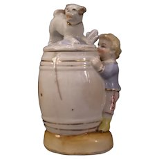 Early German Soft Paste Porcelain Dog Figure Mustard Barrel Condiment Jam Jar w/ Spoon