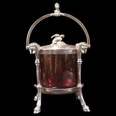 1800's Victorian Silver Dragon Figure Sweetmeat Jar Jelly Jam Preserve Pot Girl Bust