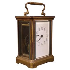 19c Miniature French Bronze Case Beveled Harris & Harrington Carriage Clock H H