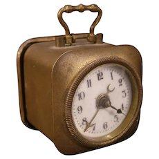 1900's UHR Wecker German Porcelain Face Miniature Brass Beveled Glass Alarm Clock