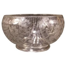 LG 20's Fostoria Cut Etched Engraved Glass Center Piece Bowl Candy Punch Jubilee