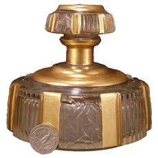 20's Art Deco Bohemian Czech Cut Satin Glass Crystal Cologne Perfume Bottle Jar