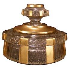 20s Art Deco Czech Cut Satin Glass Crystal Vanity Powder Dresser Jar Jewelry Box