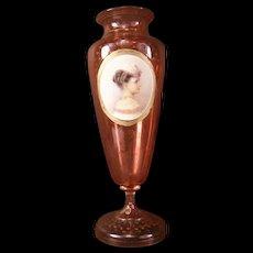 19 c Victorian HAND PAINTED Porcelain Portrait Plaque Cranberry Glass Vase Woman