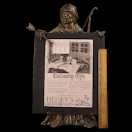 19c Black Americana Bronze Menu Board Holder Stand Figure Sculpture Bust Griffin