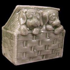 19 c Antique Austria Porcelain Dogs Figurine Match Safe Holder Statue Spill Vase