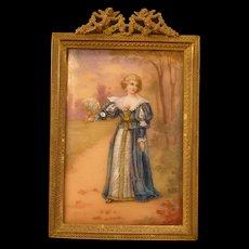 19c French Foil Enamel Woman Girl Hand Fan Painted Portrait Bronze Frame Limoges