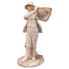 1870s Royal Worcester Figurine Statue Porcelain Figure Sculpture Basket Boy 19 c