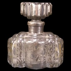 20's Art Deco Glass Sterling Silver Overlay Perfume Dresser Bottle Cologne Scent