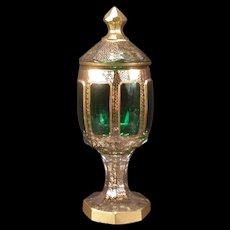 Antique Cut Moser Cabochon Bohemian Glass Gold Gilt Urn Candy Sweetmeat Jar Dish