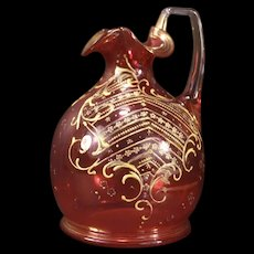 19c Antique Moser Enamel Bohemian Cranberry Glass Pitcher Decanter Bottle Jug