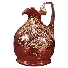 19c Antique Moser Enamel Bohemian Cranberry Glass Pitcher Decanter Bottle Jug