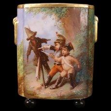 1800's French Sevres Moustiers Parages Enamel Paint Faience Portrait Plaque Vase