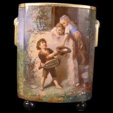 1800's French Sevres Moustiers Parages Enamel Paint Faience Portrait Fernery Vase