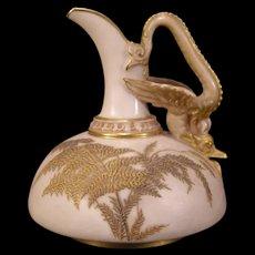 1890 Royal Worcester Porcelain Dragon Hd- PAINTED Gold Gilt Pitcher Figural Ewer