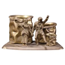 19 c Bronze Figure Desk Set Cigar Humidor Match Safe Holder Smoke Stand Dancer