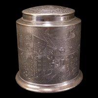 1910 BLUE BOAR Inn TOBACCO Cigar Humidor Tin Cut Plug Silverplate Holder Jar Box