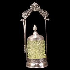 19 c Victorian Silver PRESSED DIAMOND Pattern Vaseline EAPG Glass Pickle Castor