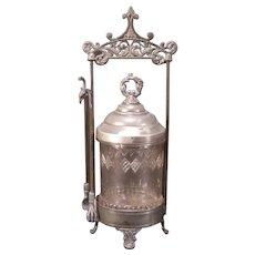 19c Victorian Silver Filigree EAPG Pattern Glass Pickle Castor Jam Jar Condiment