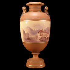 1800's Watcombe Torquay Redware Pottery H-PAINTED Scenic Earthenware Vase Lamp