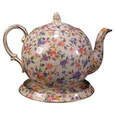 30's Royal Winton Pottery Chintz OLD COTTAGE Elite Teapot Trivet Stand Grimwades