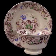 1800s Staffordshire Transferware Tea Cup Plate Handless Gaudy Ironstone Aurora