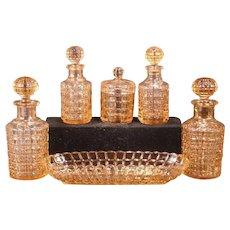 30's French Bayel Portieux Pink Glass Vanity Dresser Perfume Bottle Set Tumble Up Decanter Finger Bowl