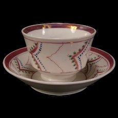 1800s Staffordshire Creamware Pearlware Tea Cup Plate Handless English Lustre
