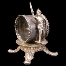 1800's Victorian Rogers Silver Soldier Figure Napkin Ring Holder Paperweight 19c