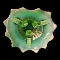 1900 Northwood Opalescent Vaseline Glass Bowl Grape Vine Carnival Candy Ribbon