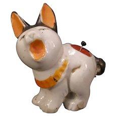 30s Art Deco Porcelain Statue Needle Holder Case Dog Figure PinCushion Half Doll