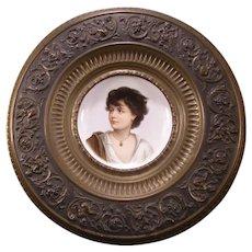 19 c KPM German Porcelain Portrait Plaque H-PAINTED Charger Bronze Cherub Child
