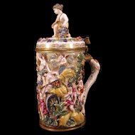 19c Carl Thieme German Porcelain Bronze Stein Nude Girl Figure Mythological Mug Woman Figure