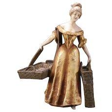 Rare Nouveau Imperial Amphora Austria Turn Pottery Figure Woman Statue Teplitz