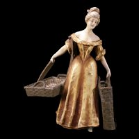Rare SIGNED Art Nouveau Imperial Amphora Austria Turn Pottery Figure Woman Statue Teplitz