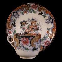 1830's Gaudy Dutch Ironstone Pearlware Staffordshire Tea Cup Mug Saucer Plate 19c