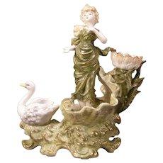 1800's Art Nouveau Girl Figure Swan Spill Flower Clam Shell Vase German Porcelain