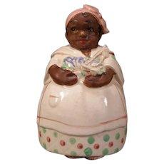 30's Black Americana String Holder Ceramic Woman Lady Figure Wall Pocket