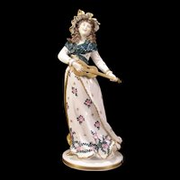19c German Porcelain Girl Figurine Lady Figure Ernst Bohne and Sohne Hand Painted