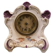 Antique Gilbert Bird Figure Porcelain China Case Shelf Mantle Clock Bonn 8d